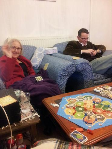 Playing 'Settlers' with Mum, Kalim and myself